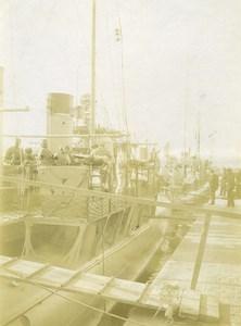 France Calais Port Bateaux Navire Militaire Marins Ancienne Photo 1900