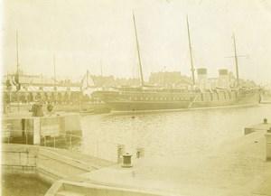 France Calais Port Bateau Militaire Ecluse Ancienne Photo 1900