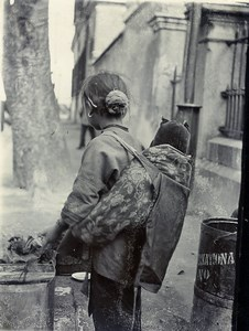 China Young Girl carrying a child Back to Camera Old Photo 1900