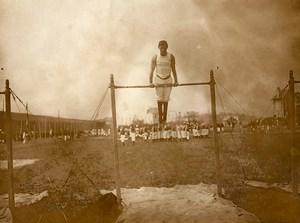 France Le Havre Gymnastics Competition Horizontal bar Old Amateur Photo 1910
