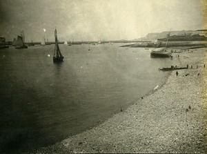 France Le Havre Bord de Mer Voiliers Plage Ancienne Photo Amateur 1910