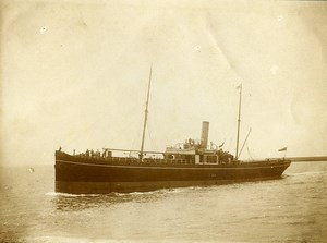 France Le Havre? bateau en mer Ancienne Photo Amateur 1910