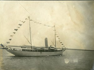 France Le Havre bateau Drapeaux Ancienne Photo Amateur 1910