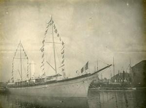 France Le Havre Region Boat Flags Old Amateur Photo 1910