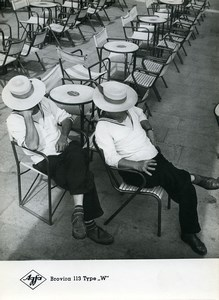 Publicity for Agfa paper Brovira 113 Men Resting Hats old Photo 1960