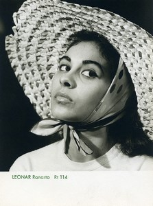 Publicity for Leonar Agfa paper Ranarto 114 Woman Big Hat old Photo 1960