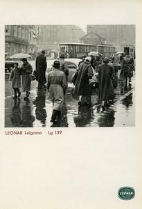 Publicité pour papier Agfa Leonar Leigrano Lg 139 Temps Pluvieux Berlin? Tramway Ancienne Photo 1960