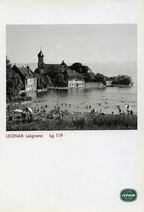 Publicité pour papier Agfa Leonar Leigrano Lg 119 Lac de Garde? Eglise Ancienne Photo 1960