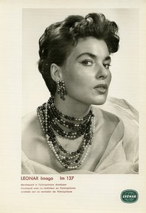 Publicity for Leonar Agfa paper Imago Im137 Woman Portrait Necklaces Photo 1960