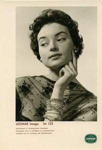 Publicité pour papier Agfa Leonar Imago Im123 Portrait Femme Bracelets Ancienne Photo 1960