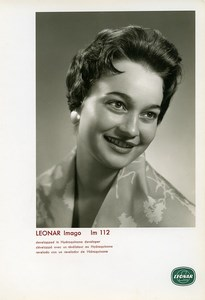Publicity for Leonar Agfa paper Imago Im112 Smiling Woman old Photo 1960