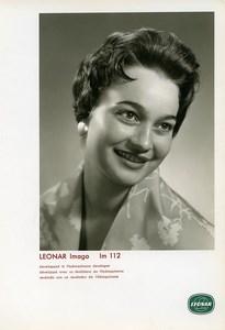 Publicité pour papier Agfa Leonar Imago Im112 Femme Souriante Ancienne Photo 1960