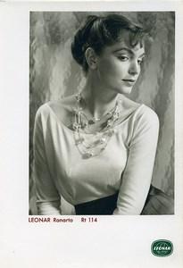 Publicité pour papier Agfa Leonar Ranarto Rt114 Portrait Femme Collier Ancienne Photo 1960