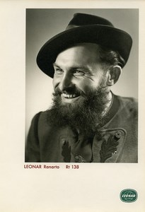 Publicity for Leonar Agfa paper Ranarto Rt138 Smiling Bearded Man old Photo 1960
