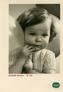 Publicity for Leonar Agfa paper Ranarto Rt123 Toddler & Balloons old Photo 1960