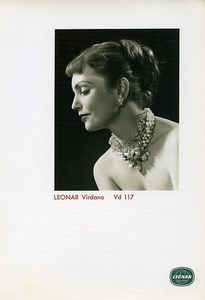 Publicity for Leonar Agfa paper Virdano Vd117 Woman Portrait Necklace Photo 1960