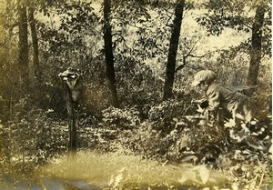 USA young photographer in the wood Raccoon old Photo 1920