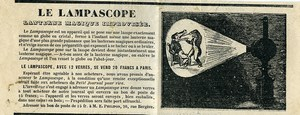 France Publicity for Magic Lantern Lampascope circa 1860