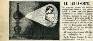 France Publicity Advert for Magic Lantern Lampascope circa 1860
