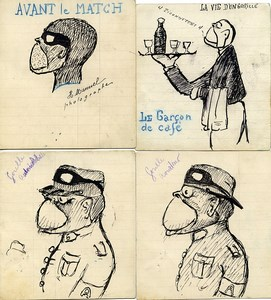 France 4 dessins originaux  de Henri Manuel Photographe parisien 1930