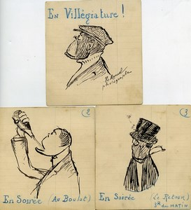 France 3 dessins originaux  de Henri Manuel Photographe parisien 1930