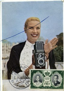 Monaco Princess Grace Kelly Photographer Rolleiflex Old Postcard 1956