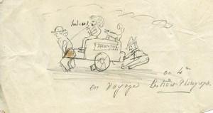 Original drawing in pencil 'en voyage les trois photographes!' 1870