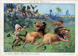 Les Chasses de Toto Photographe en Afrique Lions Chromo Bon Marché 1900