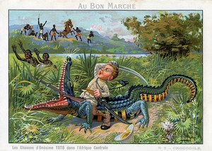 Les Chasses de Toto Photographe en Afrique Crocodile Chromo Bon Marché 1900