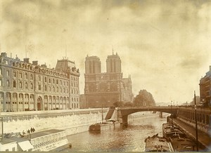 France Paris Seine Cathedrale Notre Dame Cathedral old Pictorialist Photo 1910
