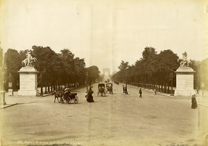 France Paris Champs Elysees Avenue Horse drawn Carriages old Photo 1880