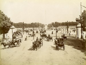 France Paris Busy Concorde Place Horse Cars Omnibus old Photo 1880