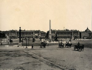 France Paris Busy Concorde Place Horse cars old Photo 1890
