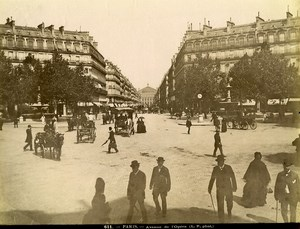 France Paris Busy Opera Avenue Horse drawn Cars old Photo LP Pamard 1880