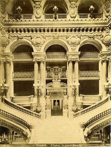 France Paris Opera Grand Staircase Palais Garnier old Photo LP Pamard 1880