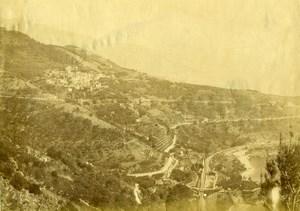 France vers Menton Roquebrune? Panorama Ancienne Photo 1880