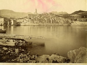 France Menton Ville et Quai Panorama Cote d'Azur Ancienne Photo 1880