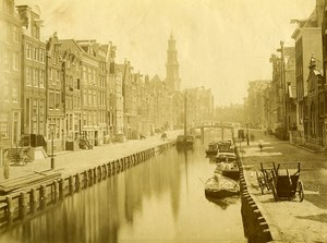 Netherlands Amsterdam Canal Street boats old photo 1880