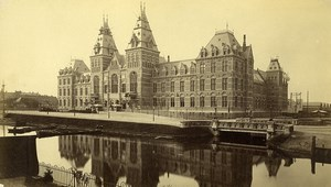 Netherlands Amsterdam Centraal Railway Station Canal old photo 1880