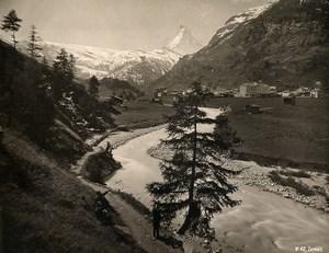 Switzerland Zermatt panorama River Mountain old Schroeder Photo 1880