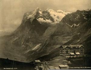 Switzerland Kleine Scheidegg Hotel Bellevue Wetterhorn old Photo Schroeder 1890