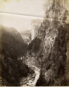 Switzerland Viamala Panorama Mountain Gorge old Photo 1880