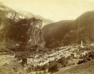 Switzerland Thusis panorama Mountain old Photo Braun 1880