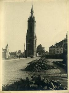 Belgium WWII Tournai Belfry Destruction Doornik old Photo 1945