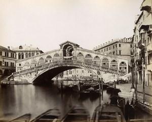 Italy Venice Venezia Rialto Bridge old Photo Paolo Salviati 1880