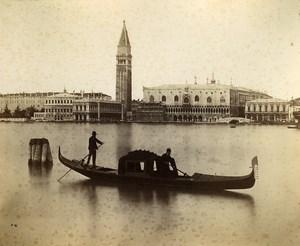 Italy Venice Venezia canal gondolier old Photo Paolo Salviati 1880