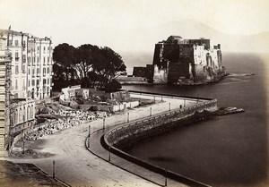 Italie Naples Napoli Château Castel dell'Ovo Ancienne Photo Giorgio Sommer 1870