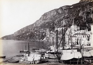 Italie Amalfi Plage Voiliers Ancienne Photo Giorgio Sommer 1870