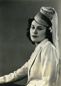 France Paris Woman Fashion Dress Hat old Photo 1939