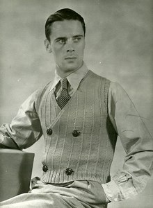 France Paris Man Fashion Buttons Cardigan Knitwear old Photo 1939